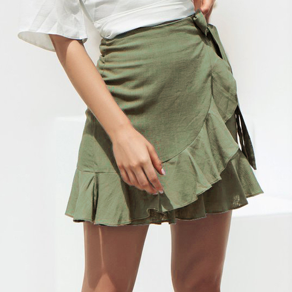 A-Line Pleated Natural Women Solid Ruffles Skirts Womens Female Womens Design Summer Skirts Bandage Lace Up Short NEW 2019 #EX