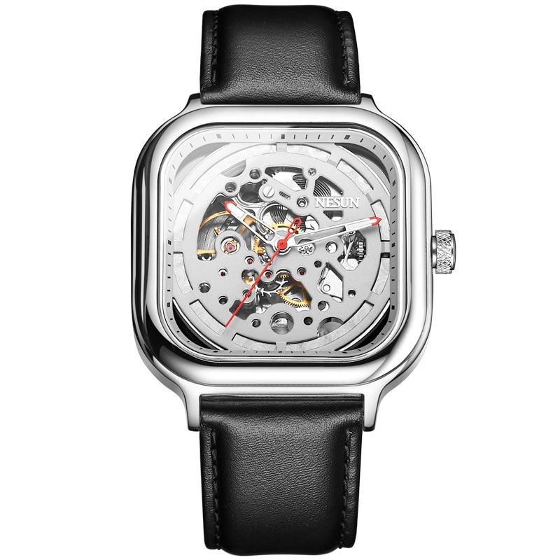 все цены на Switzerland Nesun Automatic Mechanical Watch Skeleton Clock Men Luxury Brand Men's Watches Waterproof relogio masculino N9505G-5 онлайн