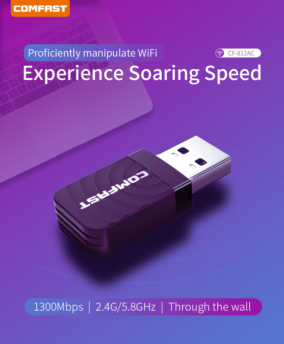 Comfast High Speed <font><b>USB</b></font> 3.0 Wireless Wifi <font><b>Adapter</b></font> Dual Band 2.4+5 GHz 1300 Mbps <font><b>802.11AC</b></font> 802.11 a/b/n/g/ac with Wi fi Antennas image
