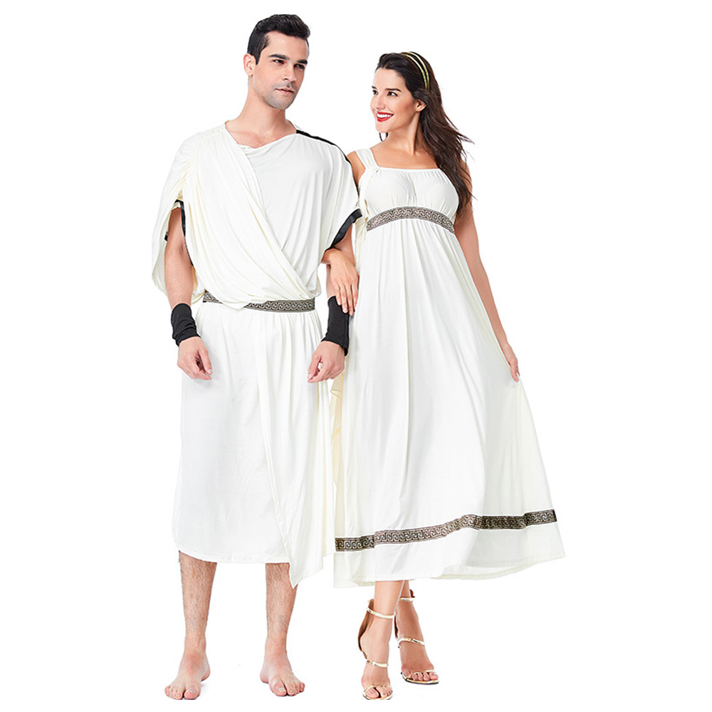 Medieval Arab Roman Couple Lovers Cosplay Costume Court Greek Goddess Cosplay Costume for Adult Women and Men Carnival Party