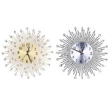 Metal Plus Diamond Wall Clock Iron Art Inlaid Diamond Flower Living Room Bedroom Silence Wall Clock