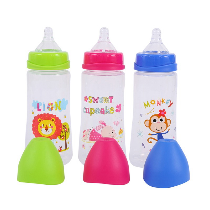 300ML New Kids Cup Cartoon Milk Wide Mouth Bottle Juice Bottle Baby Milk Bottle Safety Silicone Baby Bottle Supplement Rice Past