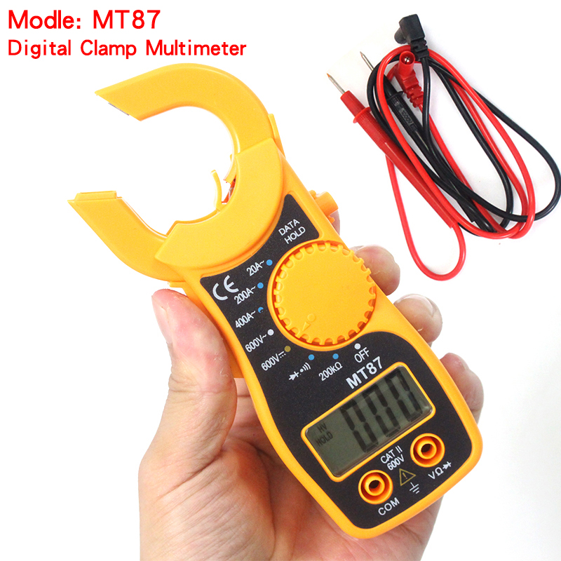 Digital Multimeter Electronic CLAMP Meter AC Voltage Current Tester Volt Ampere Ohm Meter MT87 With Package high quality mt87 lcd auto digital multimeter electronic voltage tester ac dc clamp transistor meter diagnostic tool