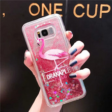 Lovely Flamingo Quicksand Case For Samsung Galaxy S7 edge S8 S9 plus Liquid Glitter Silicone PC Full Cover Note 8 9 Coque