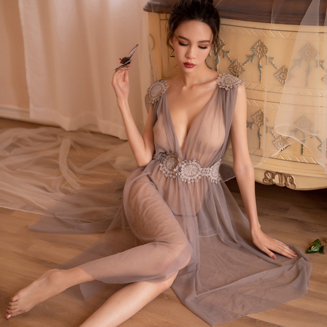 Camisón largo bordado con encaje de gasa para mujer, Sexy, lencería