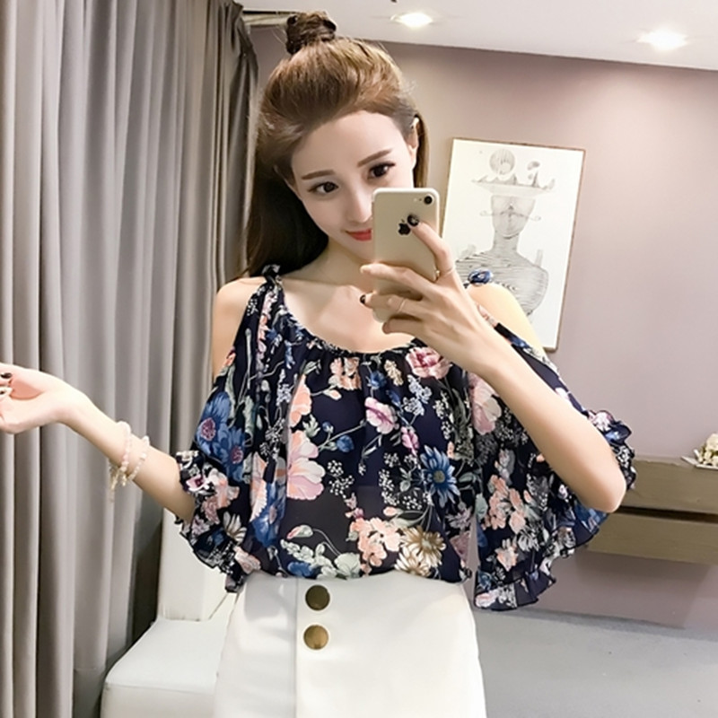 MISSFEBPLUM Summer 2018 Blouses Off Shoulder Women Chiffon Shirt Print Floral Blouse Ruffles Sleeved Blusas Work Shirts Tops ...