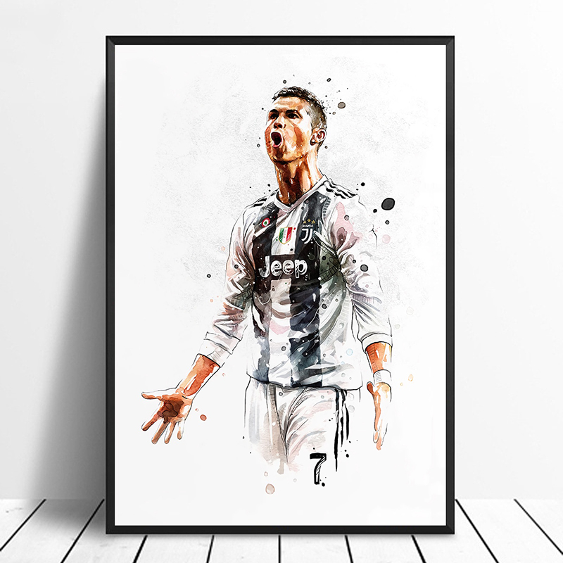 Cristiano Ronaldo CR7 Soccer Football Star Poster Original Watercolor Painting Wall Art Home Decor Canvas Print