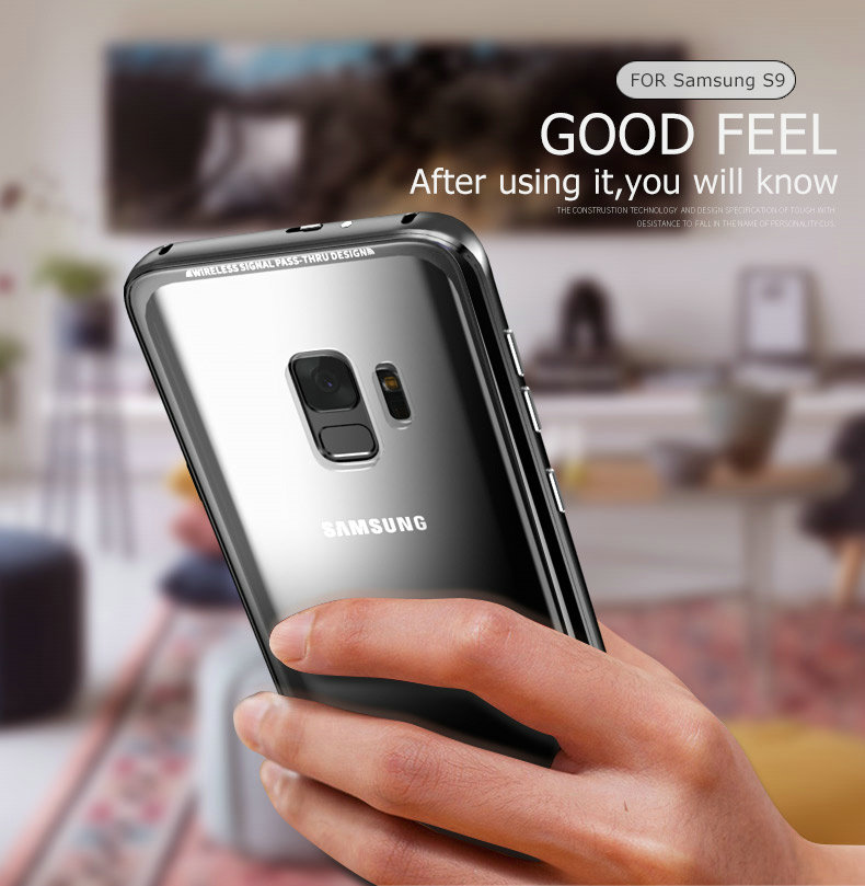 LUPHIE Luxury clear glass cover For Samsung Galaxy S9 S8 Plus Metal Bumper (9)