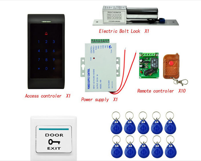 ФОТО Home RFID Door Entry Access Control System Kit Set + Door Lock + RFID Keyfob + Power Supply+ Exit Button+ Remote Controller