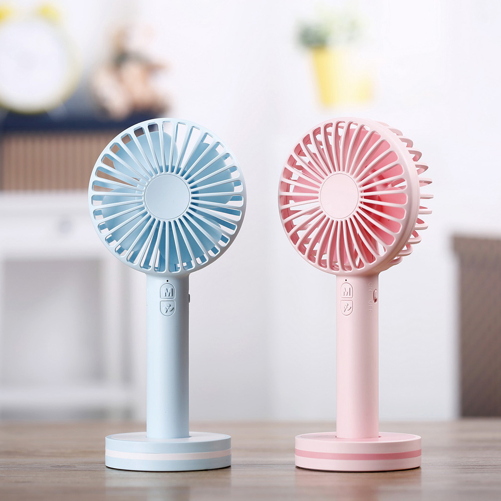 Battery Operated Cooling Fan Mini Personal 2000mAh Electric Fan Handheld Portable Rechargeable USB with Base for Travel Outdoors portable cooling fan with mini usb cute mermaid handheld rechargeable practical for office home school use