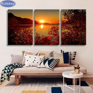 Image 1 - משלוח חינם 5d יהלומי רקמת טריפטיך אגם שקיעת בד ציור חתונה קישוט 3d יהלומי תמונות לסלון