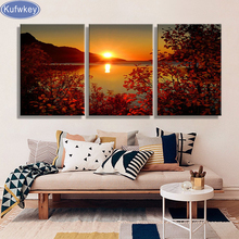free Shipping 5d diamond embroidery triptych Lake Sunset Canvas Painting Wedding Decoration 3d diamond Pictures for Living Room