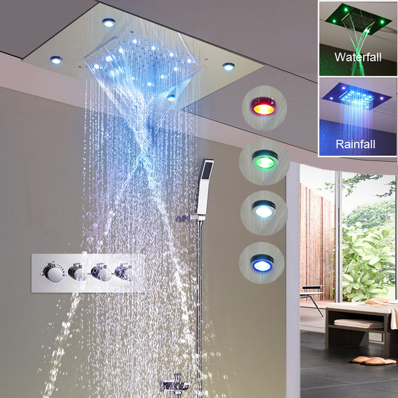 Big Shower Head Rainfall Mirror Shower Panel Ceiling Bathroom Accessories Shower Set Water Saving Led Light Showerhead 500*360mm We Have Won Praise From Customers Bathroom Fixtures