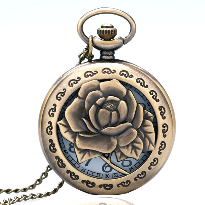 Exquisite Bronze Vintage Carving  Rose In Full Bloom Hollow Quartz Pocket Watch Necklace Chain Women Lady Clock Gift