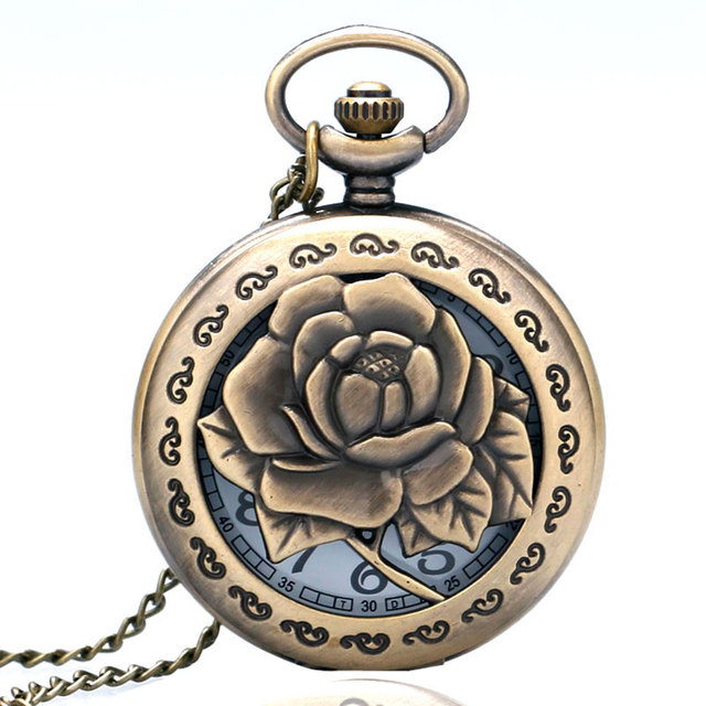 Exquisite Bronze Vintage Carving Rose in Full Bloom Hollow Quartz Pocket Watch N