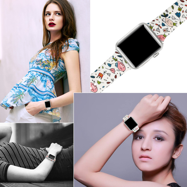 Silicone Strap For Apple Watch band 44mm 40mm pulseira iwatch 42mm 38mm Printing women bracelet apple Watch series 5 4 3 2 1 5