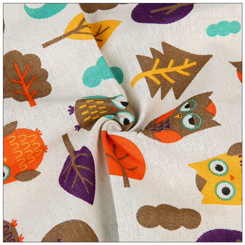 Owl style Cotton Linen Fabric Sewing DIY Patchwork Quilt Knitted Sofa Curtain Cloth Cushion Table Furniture Material150cmx100cm in Fabric from Home Garden