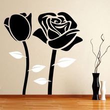 Home Decor Removable Rose Flower Wall Sticker Vinyl Home Decoration Wall Decal Rose Romance Design Decor Home Art Decal AY570 extra thick classical flower design home decor vinyl wallpapers