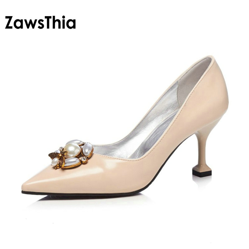 ZawsThia 2018 PU pointed toe mature elegant woman summer shoes with pearls bees decoration high heeled pumps stilettos for women creativesugar elegant pointed toe woman