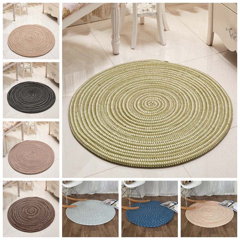 Hand Hooked Round Carpet Chair Mat For Living Room Bedroom Area Rugs Solid Nordic Home Decorative Placemat Sofa Table Seat Mat