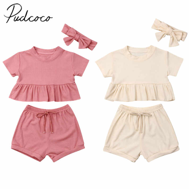 2019 Baby Summer Clothing Newborn Infant Baby Boy Girl Solid Outfits Ruffles Tops Shorts Headband 3PCS Sunsuit Clothes 6M-3T