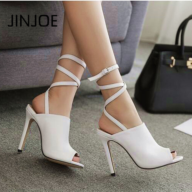 3c545ae2406 JINJOE 2018 Summer Women s shoes fashion Pure white sexy Open toe Rome style  Heel Ankle Strap High-heeled Wedding sandals pumps