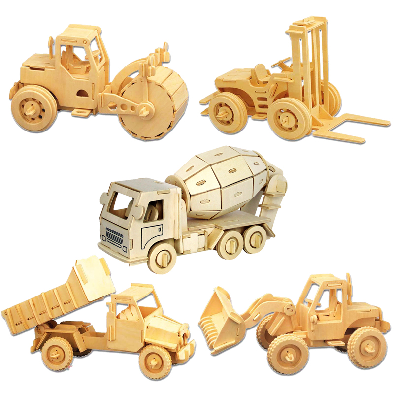 font b Toys b font For Children 3D Puzzle Diy Wooden Puzzle Engineering Truck A