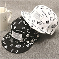 Good Quality Fashion cap Men / Women White And Black Patch Eaves Graffiti Baseball Cap Flat Hat Hip-Hop Dance Hat