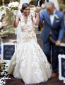 Champagne Applique Trumpet Wedding Dress African Style Floor Length Mermaid Bride Dresses with Bow Hot