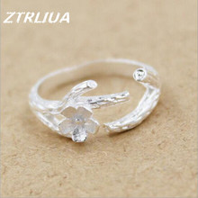 New Arrival Creative 925 Sterling Silver Fashion Jewelry Cherry Tree Branches Flower Anti allergic Ring