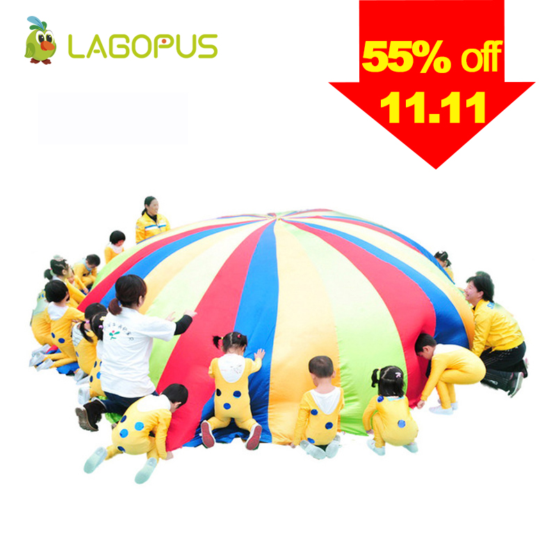 Umbrella Rainbow Toy Parachute Kids Games Multicolor Nylon Parachute Toy kids Games Outdoor Sports Fun New 1 8 3 5m outdoor toy rainbow umbrella parachute sensory toys for children kid playing outside traning cooperate outdoor games