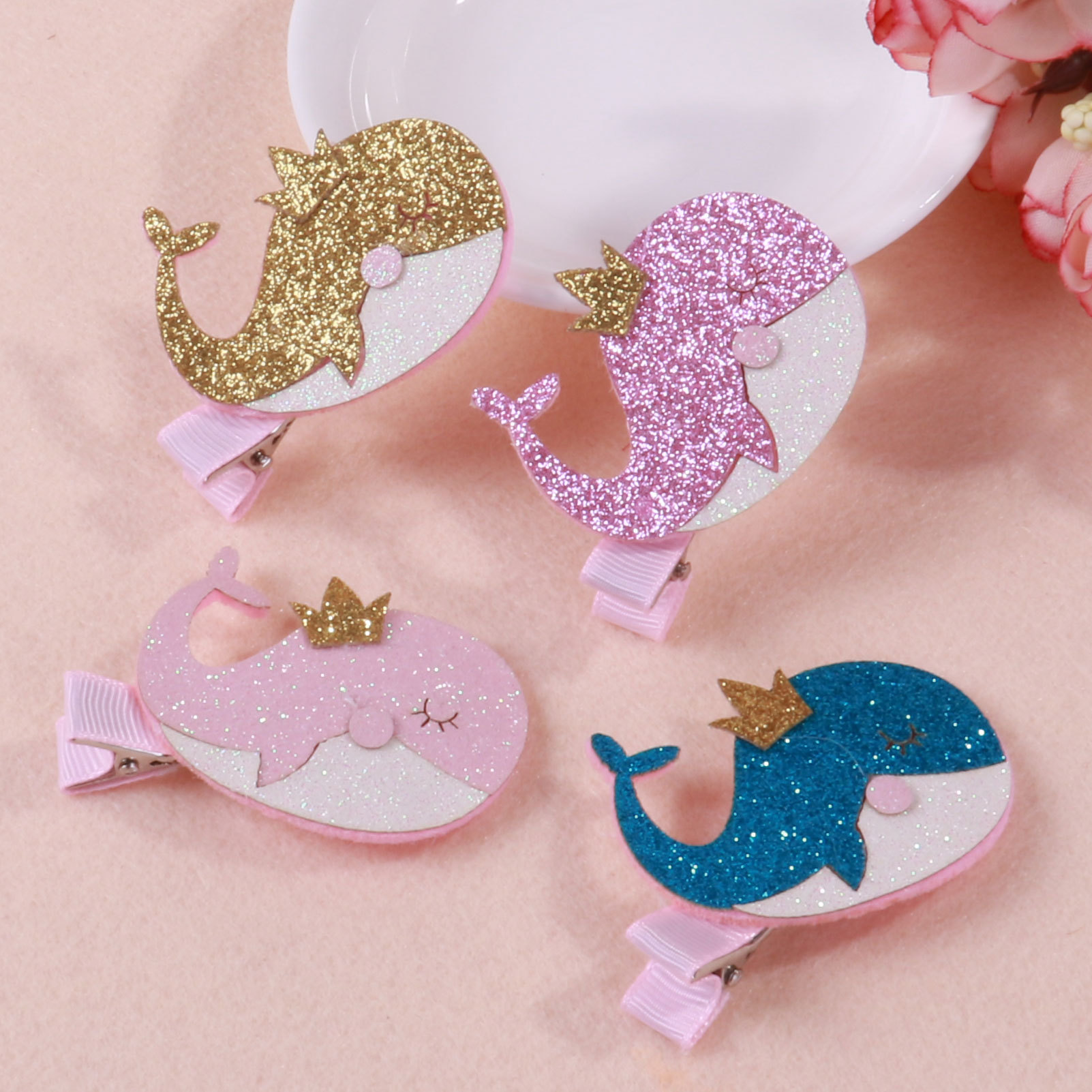Beautiful Lively Girls Several Kinds of Cartoon whale Crown Animal Hairpins Clips Kids DIY Garments Hair Accessories
