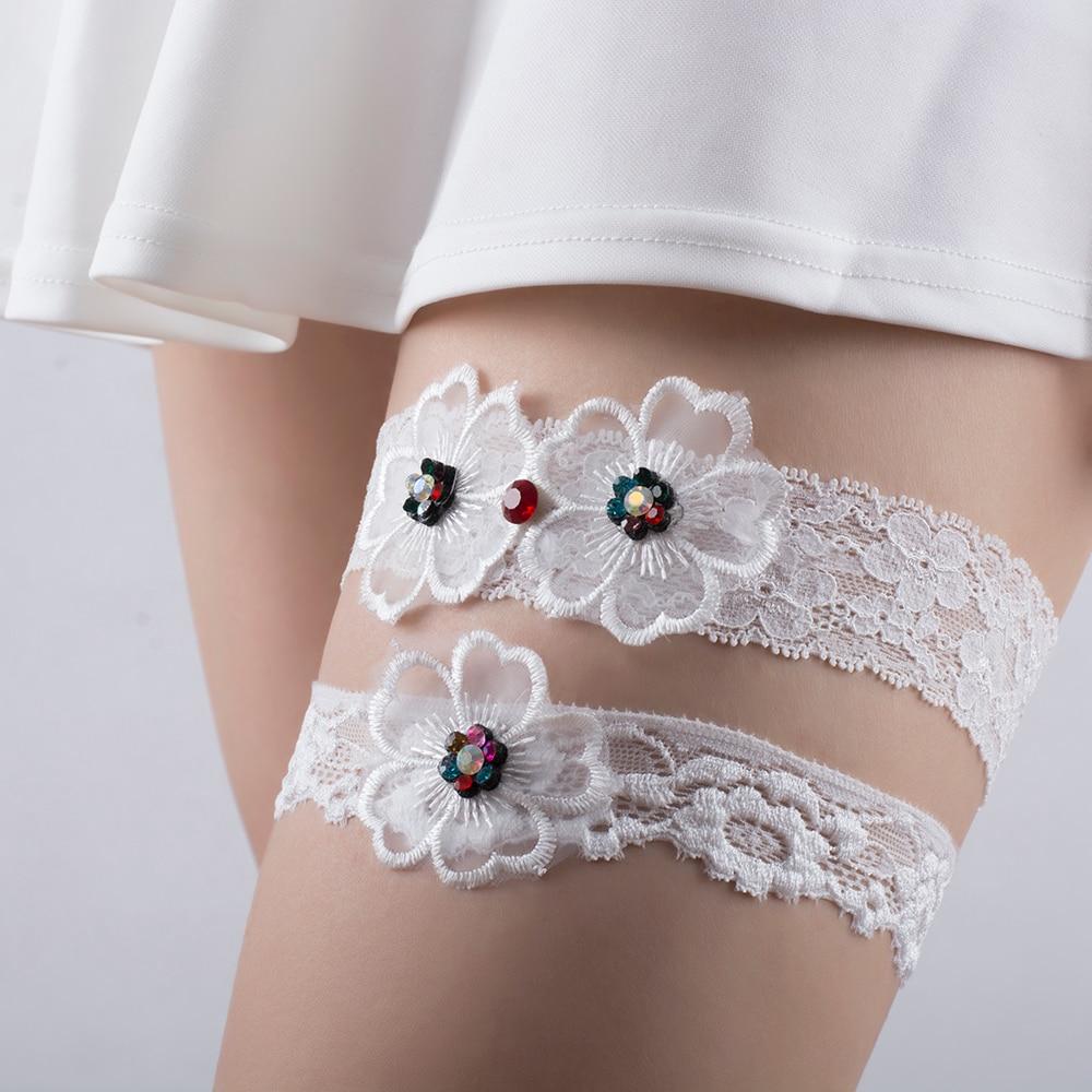 women vintage bridal garter lace elastic Garter Wedding party prom garter with chiffon flower Rhinestones Thigh Rings