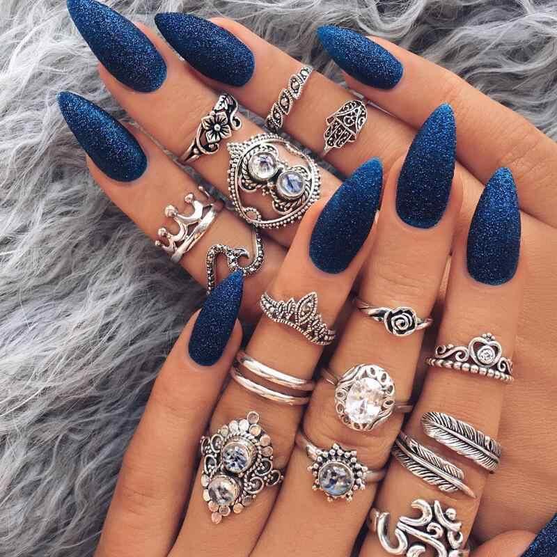 Jewdy Fashion Bohemian Crystal Jewelry 15 Pcs Lot Rings For Women