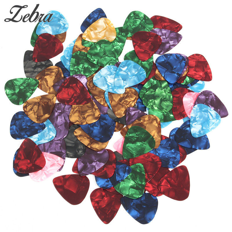 100pcs Multi-color Celluloid Acoustic Guitar Pick Plectrums Accessories for Speed Playing/Strumming and Thumping+Plastic Case