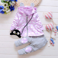 2016 New Baby Clothing Sets Spring And Autumn Girls Clothes Fashion Princess Coat And Trousers 2pieces