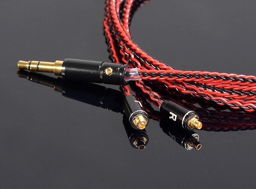 Fait à LA main bricolage mis à jour 8 cœurs 6N cuivre plaqué argent MMCX ligne de casque 3.5mm fiche câble cordon pour SE525 SE535 SE846 UE900 LA DT2