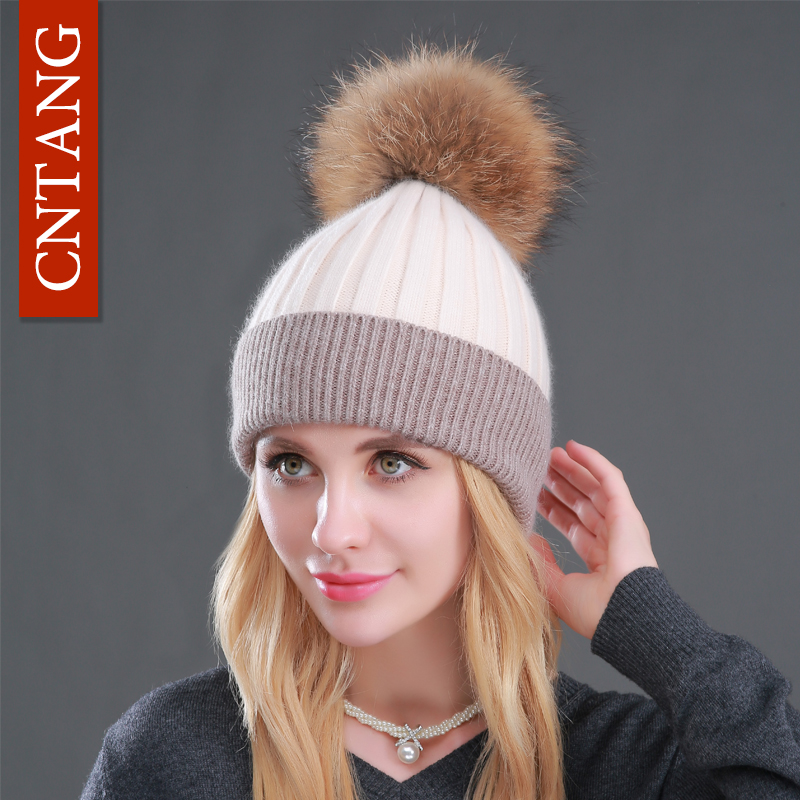 2017 Winter Patchwork Rabbit Fur Beanies Female Warm Knitted Hats Genuine Natural Raccoon Fur Wool Hat Fashion Women Pompon Caps free customs taxes super power 1000w 48v li ion battery pack with 30a bms 48v 15ah lithium battery pack for panasonic cell