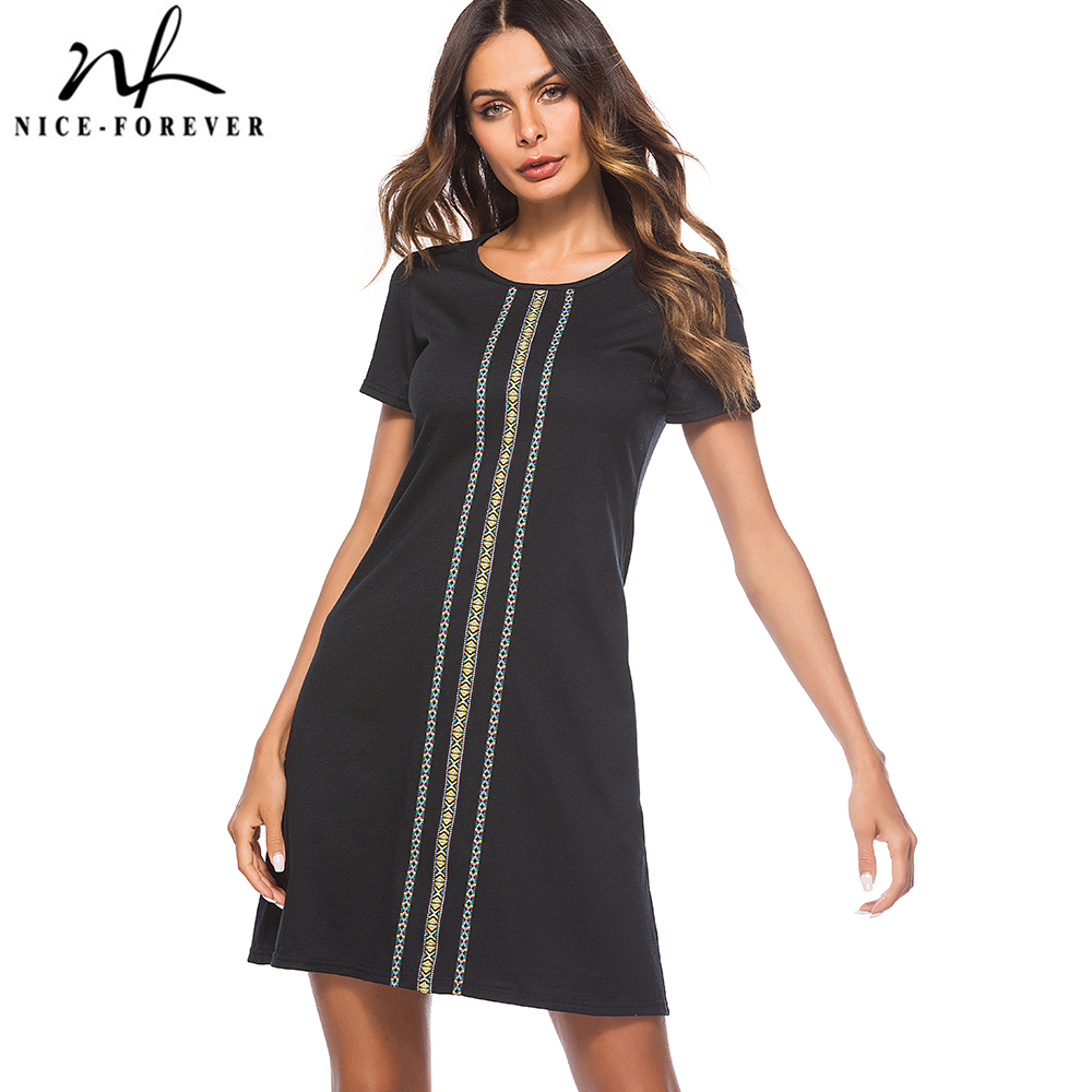 71e2246464d Хороший-навсегда Для женщин повседневные летние шорты рукав черный работа  Бизнес свободные прямые Цельнокройное платье btyT032