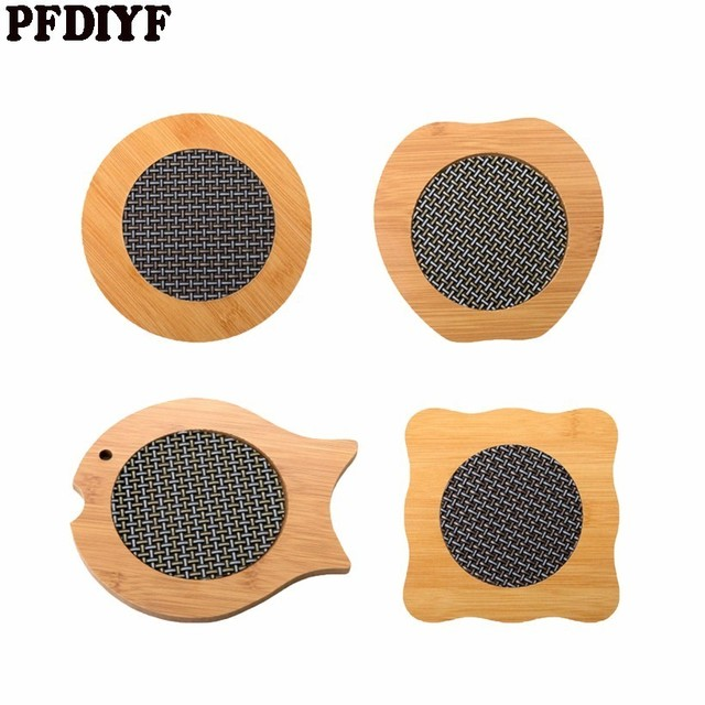 PFDIYF 4Pcs/set Cartoon Bamboo Placemat Anti Hot Pad Desk Mat Coaster Heat  Resistant