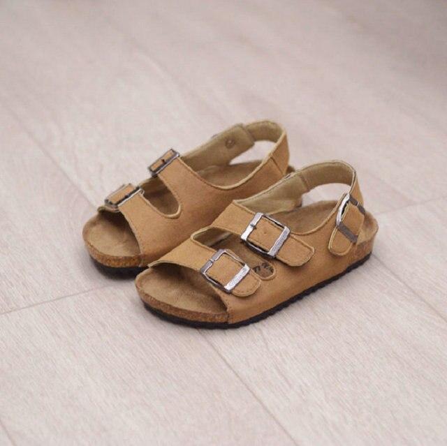 Дети сандалии Классический 2017 Новый Летний детская обувь Пробковые сандалии мужчины Мягкая кожа Мальчики пляжные сандалии размер 22 ~ 37