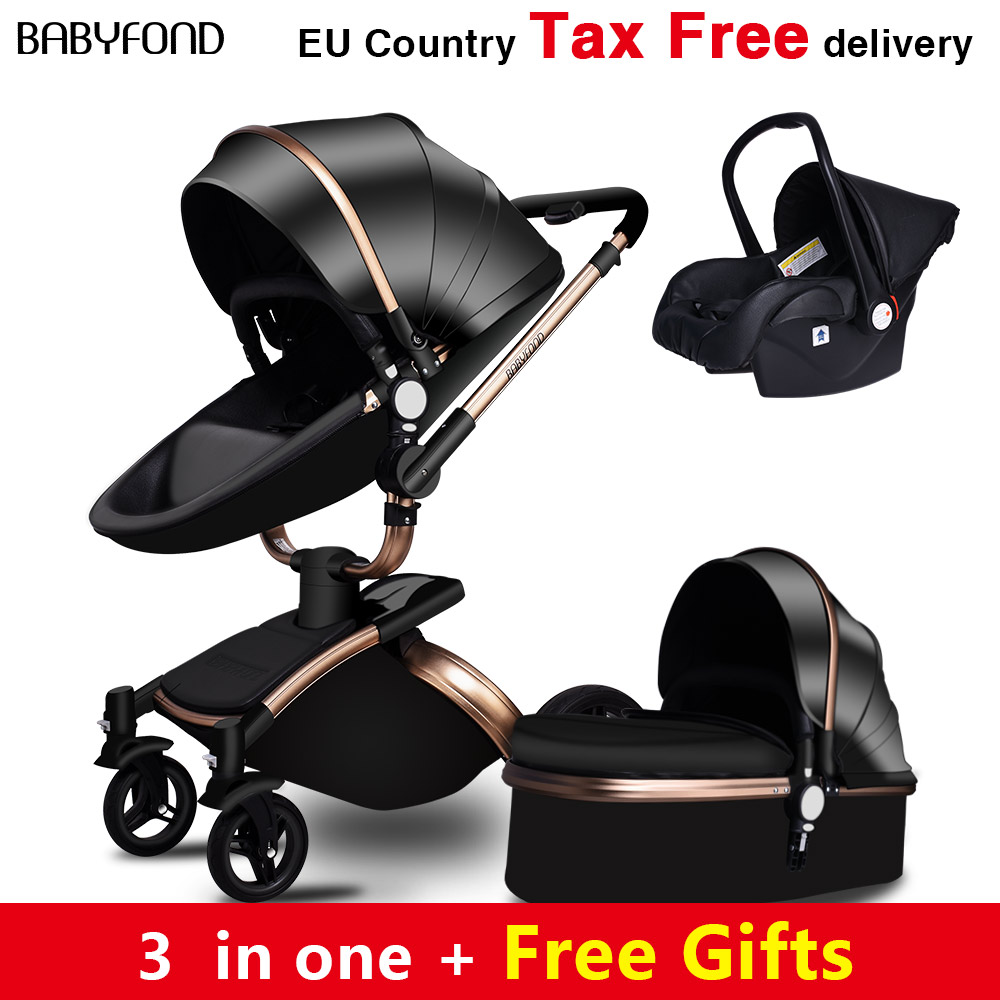 Babyfond  Free Ship! No Tax Luxury 3 in 1 Baby stroller Brand baby PU Leather Pram EU safety Car Seat Bassinet newborn Aulongift