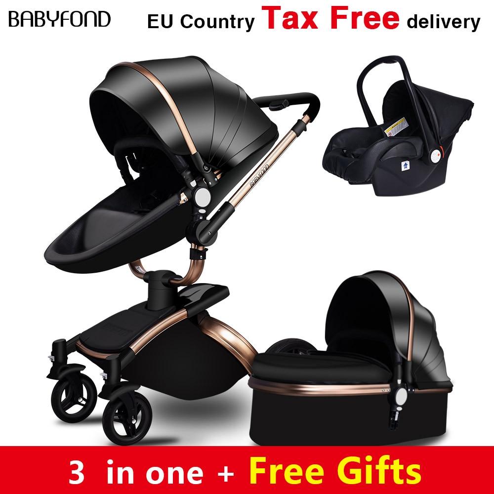 Babyfond Free Ship! No Tax Luxury 3 in 1 Baby stroller Brand baby PU Leather Pram EU safety Car Seat Bassinet newborn Aulongift