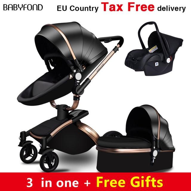 Babyfond משלוח ספינה! אין מס יוקרה 3 ב 1 בייבי עגלת מותג תינוק עור מפוצל Pram האיחוד האירופי בטיחות רכב מושב עריסה יילוד Aulongift