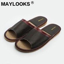 Дешевые телячья кожа сандалии для пляжа натуральная кожа на низком каблуке женские тапочки с открытым носком без застежки весна лето Сандалии для мужчин tb007