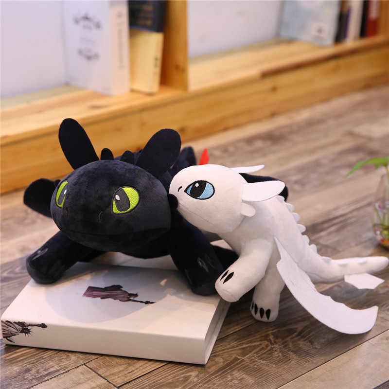 Hot style 3 25 centímetros Como treinar O Seu Dragão Brinquedos de pelúcia luz Fúria Anime Figura Fúria Da Noite Desdentado Dragão boneca de Brinquedo de pelúcia