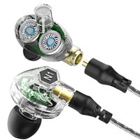 New VJJB N1 Double Dynamic Earphone Two Unit Driver DIY HIFI Bass Subwoofer With Mic Cable