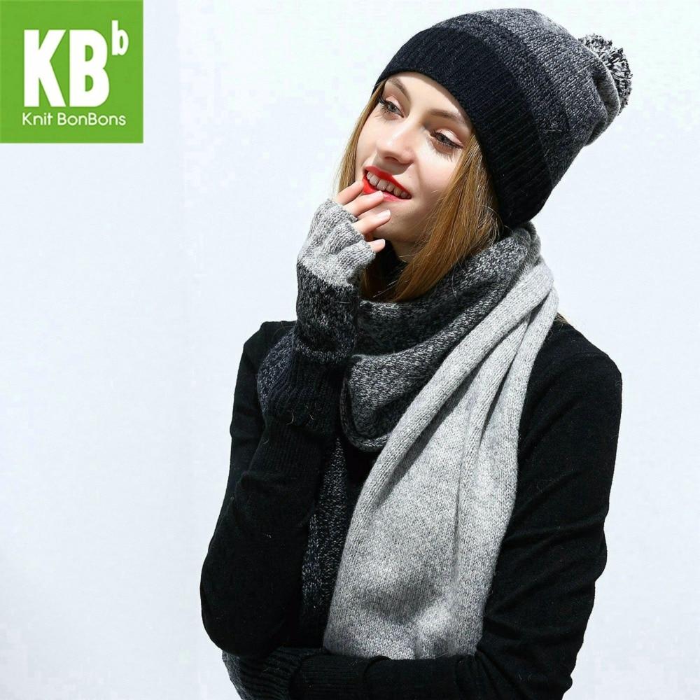 2018 KBB Femmes Écharpe Chapeau Ensemble Gris Tricoté Laine Laine D agneau  femelle Femmes de Foulards Gants Occasionnels Avec Beanie Chapeaux Cap Pour  hiver 9b745a583cd