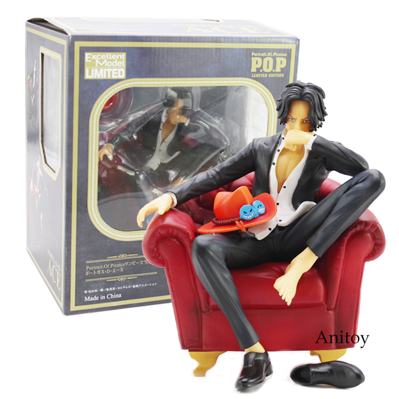 Anime One Piece P.O.P Portgas D Ace Sitting Sofa Ver. PVC Action Figure Collection Model Toy 17cm anime one piece fire fist ace handsome model garage kit pvc action figure classic collection toy doll