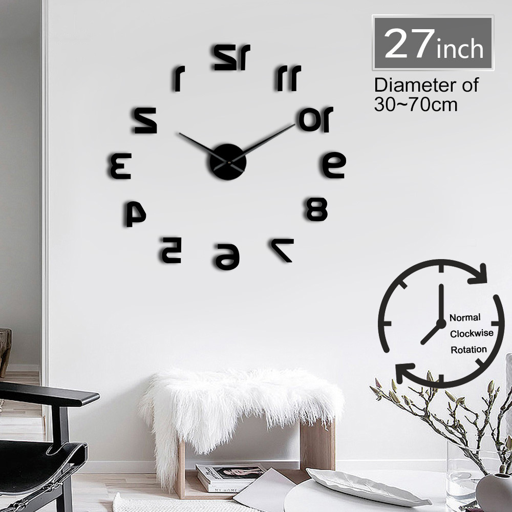 1Piece Backwards Reverse DIY Large Number Wall Clock Giant Wall Clock 3D Mirror Effect Wall Sticker DIY Huge Wall Watch Decor